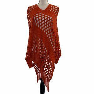 Italy Design Crochet Knit Poncho Sweater V-Neck